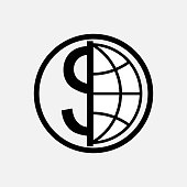 icon global currency, money, globe