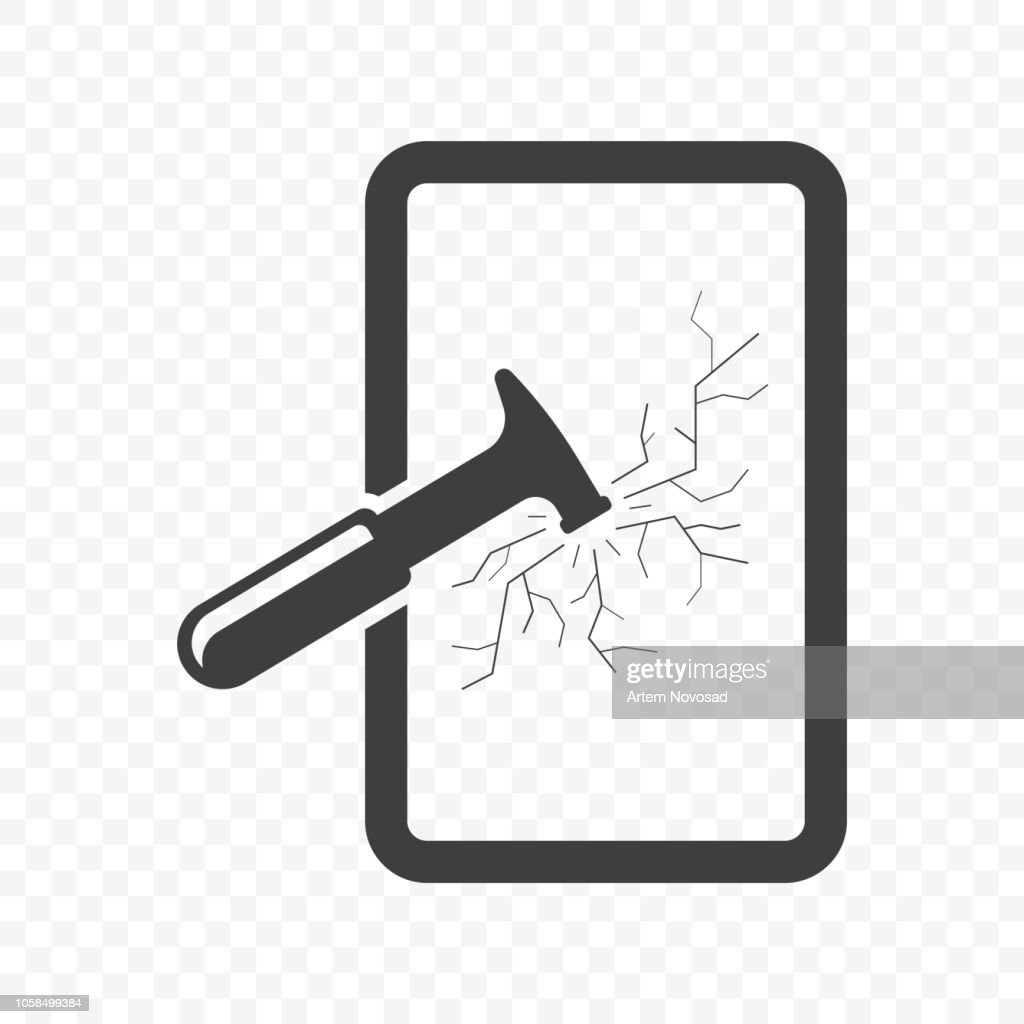 Icon hammer breaking glass. Vector on transparent background.