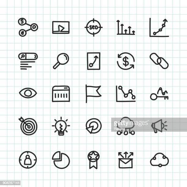 seo icon - hand drawn series - online advertising stock illustrations, clip art, cartoons, & icons