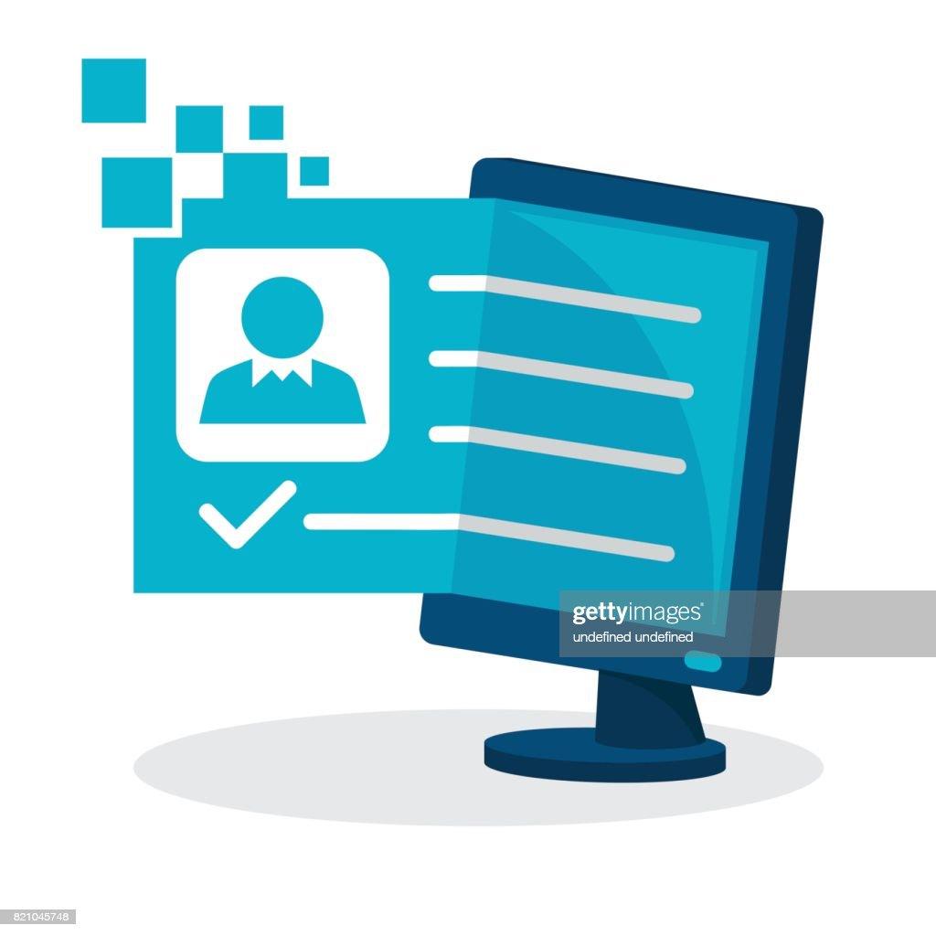 Icon illustration for on-line registration