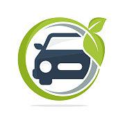 icon illustration with environmentally friendly car concept, eco car.