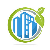 icon illustration with the management concept of green cities