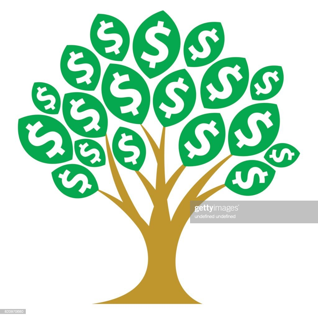 Icon illustrations for money tree, passive income, or those related to growing business profits.