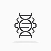 DNA icon in line style.