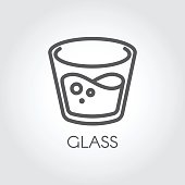 Icon in linear style with a glass of water or other abstract drink. Vector outline icon