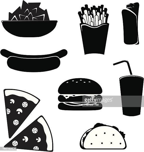 icon - junk food - nachos stock illustrations