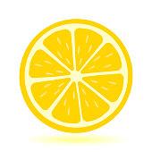Icon lemon. Fresh lemon fruits and slice. Isolated on white background. Vector illustrations