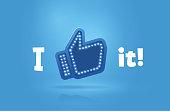 Icon like social network. Hand, big finger up on blue background. I like it!