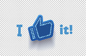 Icon like social network. Hand, big finger up on transparent background. I like it!