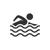 BW icon - Man swimming