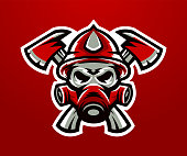 icon, mascot firefighter. Lethal task, a dangerous profession, skull, skeleton, axes on the cross, mask, rescue squad, uniforms. Vector illustration