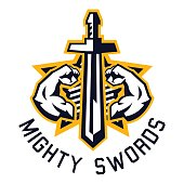 icon mighty swords. Muscular arms, sport and fitness. Vector illustration. Flat style