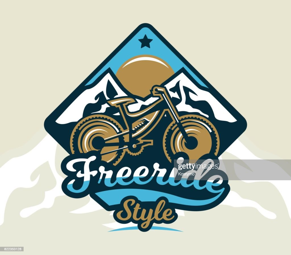 icon mountain bike. The emblem of the bicycle and the mountains. Extreme sport. Freeride, downhill, cross-country. Badges shield, lettering. Vector illustration.