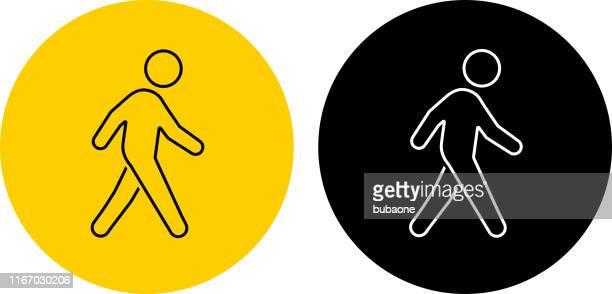 ilustrações, clipart, desenhos animados e ícones de ícone de um passeio do homem - andando
