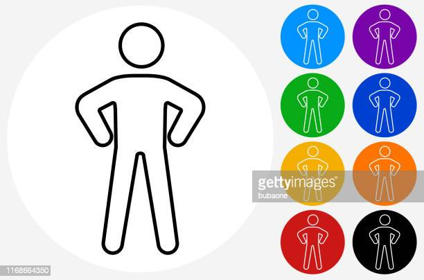 icon of a man with hands on hips - hand on hip stock illustrations