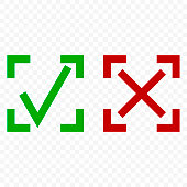 Icon of acceptance and rejection. Tick and cross symbol in square frame on transparent background. Isolated vector.