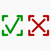Icon of acceptance and rejection. Tick and cross symbol in square frame on transparent background. Rounded corners. Isolated vector.
