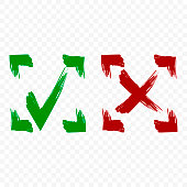 Icon of acceptance and rejection. Tick and cross symbol in square frame on transparent background. Brush strokes. Isolated vector.