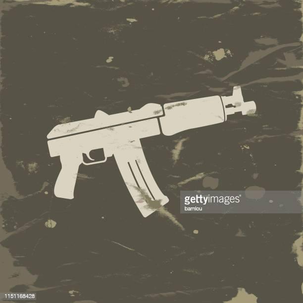 Ikone der AK47-Armeekolzierung auf Grunge-Hintergrund