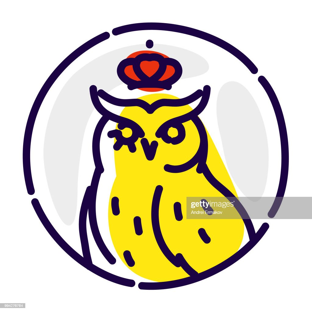 Icon of an owl. Vector flat icon. Wise owl in the crown. Image is isolated on white background. Corporate identity. Icon for website and print. Mascot, a brand for the company.