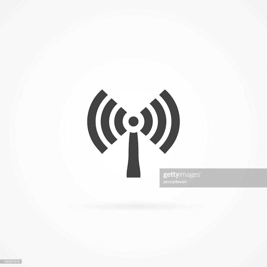 Icon of antenna broadcasting wireless signal.