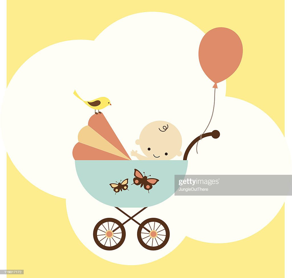 Icon of baby boy in stroller with balloon