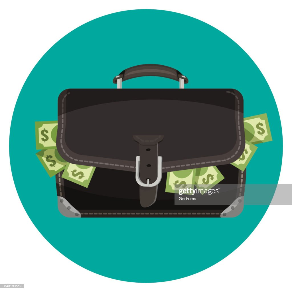 Icon of black leather briefcase full of cash
