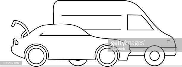 icon of car with trunk open and delivery van - curbside pickup stock illustrations