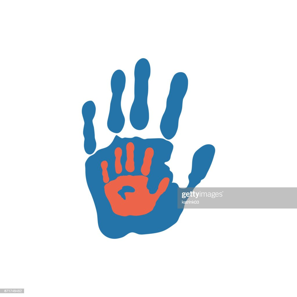 Icon of child and adult handprints.