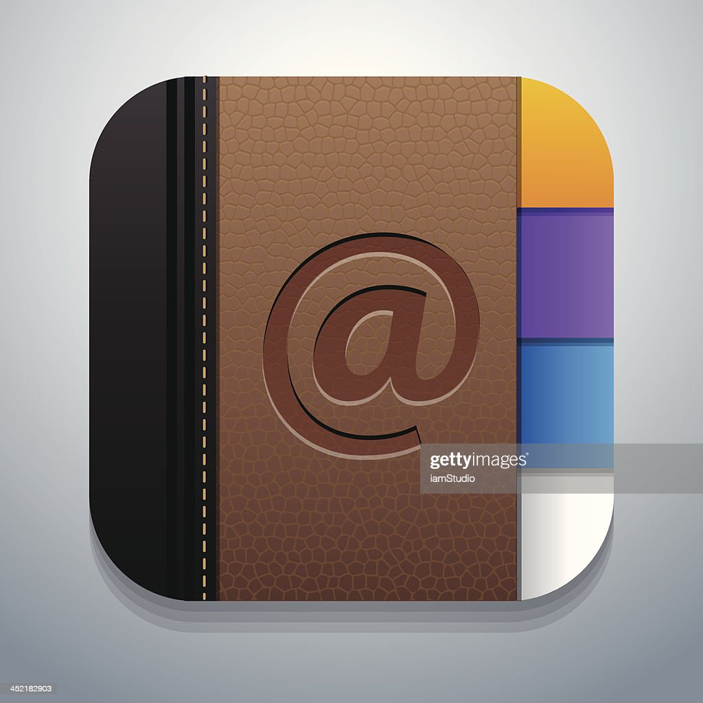 Icon of contact or address book one would find on a phone