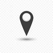 Icon of geolocation with a transparent shadow. Vector illustration on a transparent background.