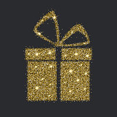 Icon of Gift box with gold sparkles and glitter
