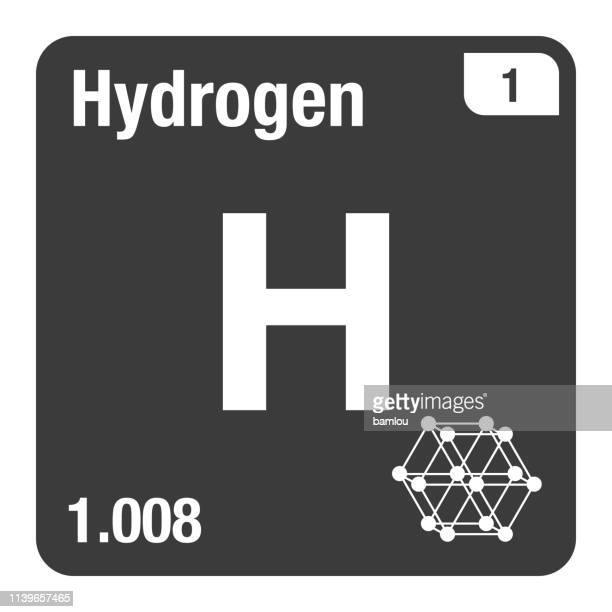 icon of hydrogen periodic table of elements - atom stock illustrations