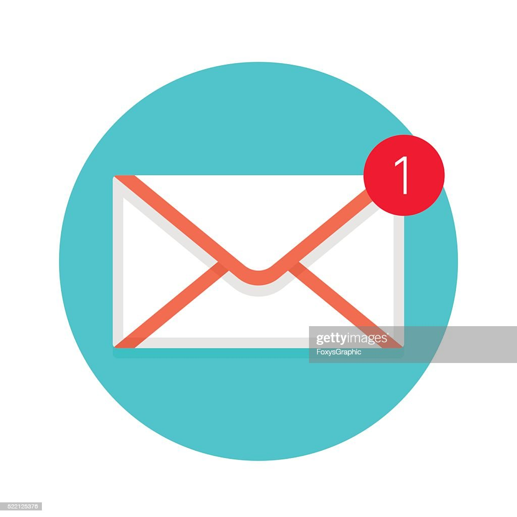 Icon of new mail envelope. White envelope with red marker
