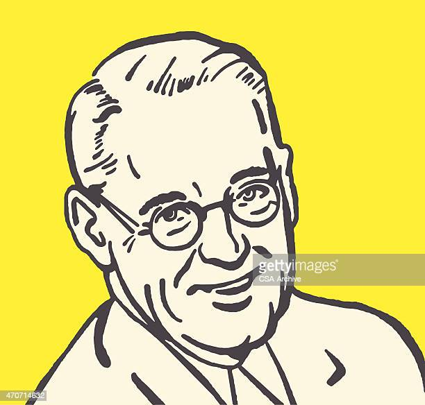 Icon of older man wearing glasses with yellow background