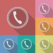 Icon of phone, telephone. Flat style