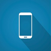 Icon of smartphone on blue background with shadow.
