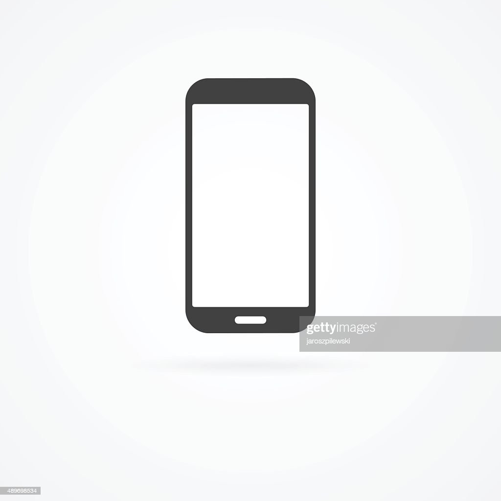 Icon of smartphone on white background with shadow.