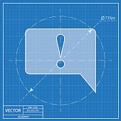 Icon of speech bubble with exclamation mark, vector blueprint illustration