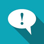 Icon of speech bubble with exclamation mark, vector illustration