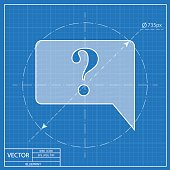 Icon of speech bubble with question mark, vector blueprint illustration