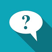 Icon of speech bubble with question mark, vector illustration