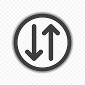 Icon of the arrows showing in different directions in the general circle. Vector on a transparent background.