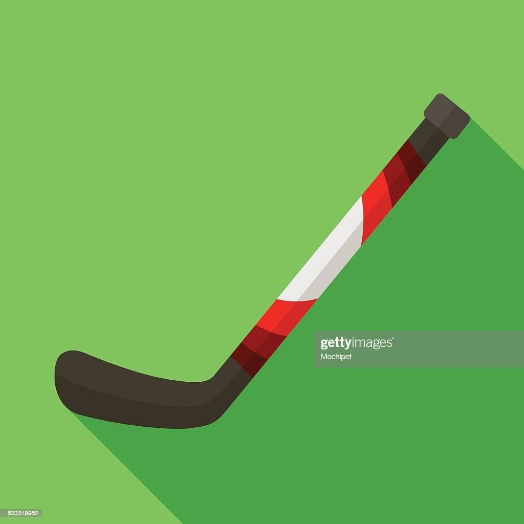 Icon of toy hockey stick in flat design