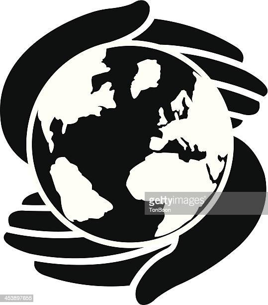 icon of two hands protecting the earth - human hand stock illustrations