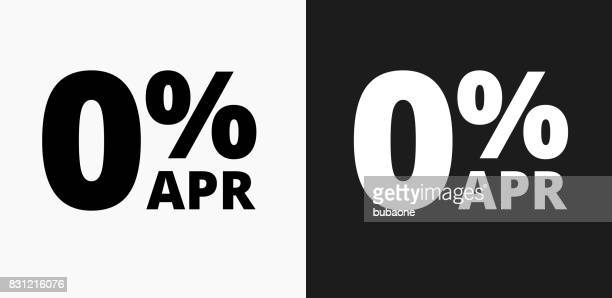 0% APR Icon on Black and White Vector Backgrounds