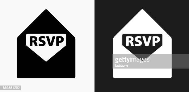 rsvp icon on black and white vector backgrounds - rsvp stock illustrations