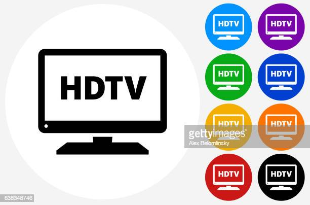 HD TV Icon on Flat Color Circle Buttons