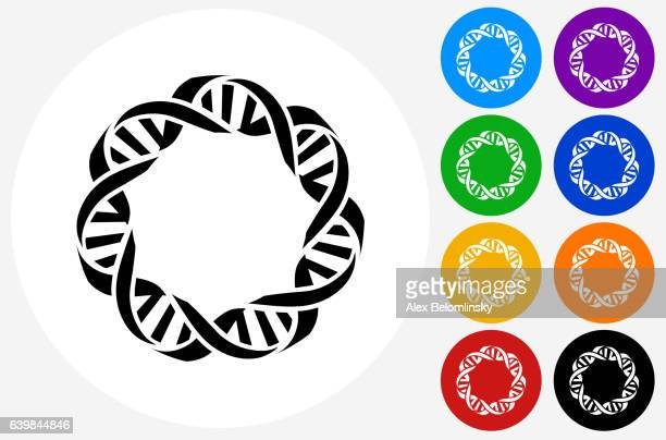 DNA Icon on Flat Color Circle Buttons