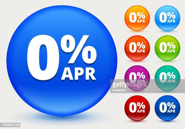0% APR Icon on Shiny Color Circle Buttons